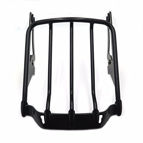 HK MOTO Gloss Black Two-Up Air Wing Luggage Rack For Harley Touring 09-16 Street Glide FLHX Road King FLHR Electra Glide FLHT Road Glide FLTR