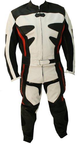 2pc Alienator Motorcycle Riding Racing Leather Track Suit w Armor WhiteBlack -46