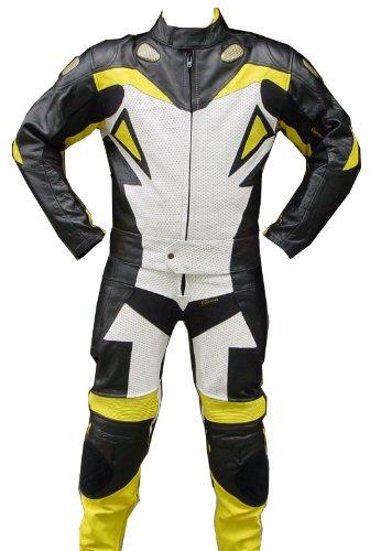 2pc Motorcycle Leather Riding Racing Track Suit Armor Padding YellowWhiteBlack -X-large