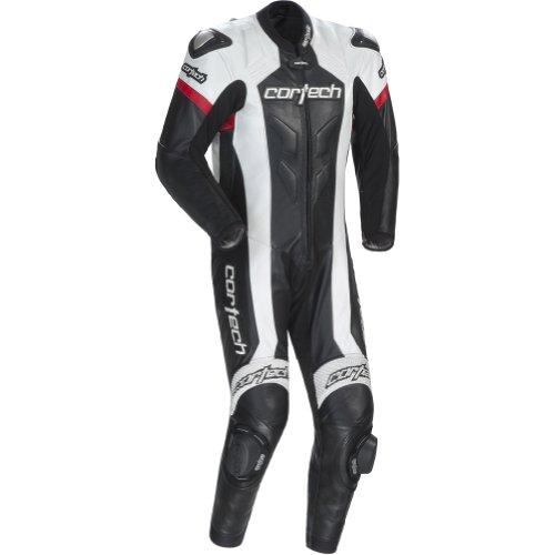 Cortech Adrenaline Mens 1-Piece Leather Street Racing Motorcycle Race Suit - BlackWhite  Medium