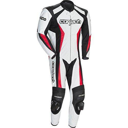 Cortech Latigo 20 Mens 1-Piece Leather Street Racing Motorcycle Race Suit - WhiteRed  Large