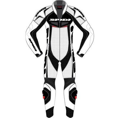Spidi Reset Wind Mens 1-Piece LeatherMesh On-Road Racing Motorcycle Race Suits - WhiteBlack  Size E52US42