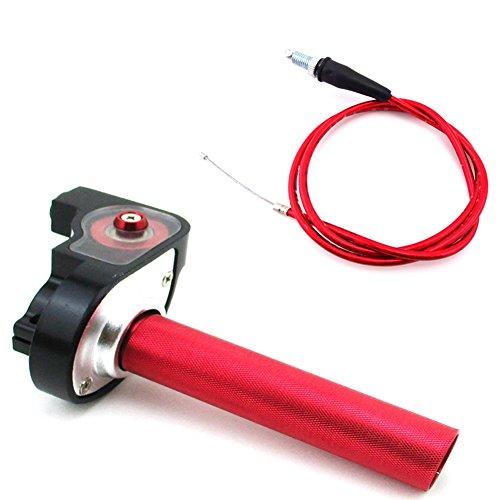 TC-Motor Red 14 Turn Aluminum Handle Twist Throttle Cable For 50cc 70cc 90cc 110cc 125cc 140cc 150cc 160cc Pit Dirt Motor Bike XR50 CRF50 KLX110 SSR Thumpstar Lifan TTR YZF DHZ SDG