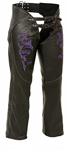 Milwaukee Women's Leather Chaps (black/purple, 5x-large)