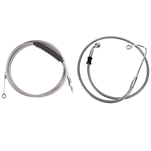 Hill Country Customs Basic Stainless Cable Brake Line Kit for 18 Handlebars on 2016 Newer Harley-Davidson Softail Models with ABS Brakes - HC-CKB21418-SS