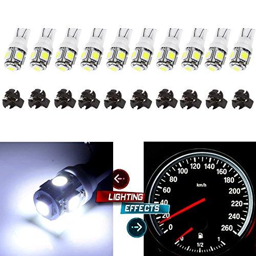 CCIYU 10T10 5-5050-SMD PC194 LED Bulb Instrument Panel Cluster Dash Light Twist Lock Socket white