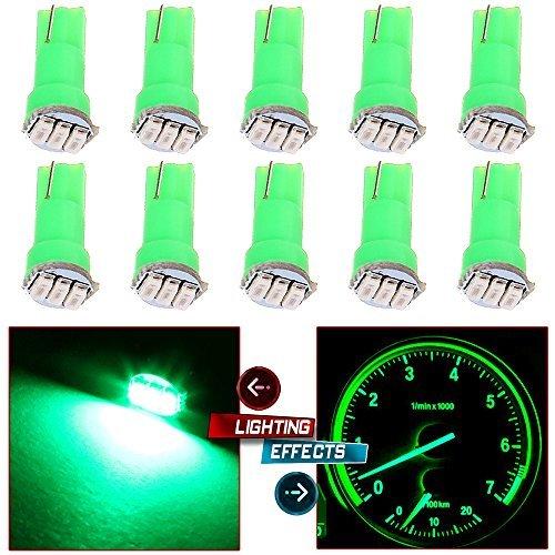 CCIYU 10pcs T5 74 17 37 58 85 Super Green 3-3014-SMD Car Wedge Instrument Panel Cluster Gauge LED Light Bulbs