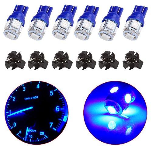CCIYU T10 PC194 168 Blue LED Bulb Instrument Panel Cluster Dash Light WTwist Lock Socket Total of 12 pcs