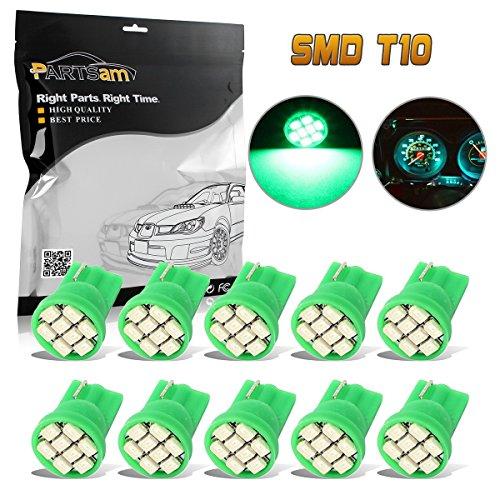 Partsam 10pcs Green T10 PC194 168 LED Light Bulb 8-SMD Instrument Panel Cluster Gauge Dashboard Lighting Lamp