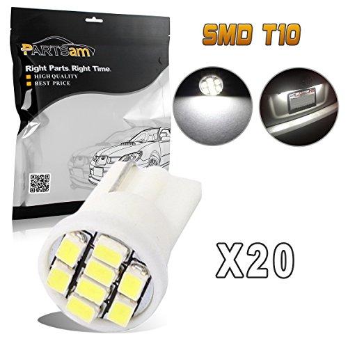 Partsam 20pcs 6000K White T10 194 168 LED Light Bulb 8-SMD Instrument Panel Cluster Speedometer Odometer Temp Gauges Lighting Lamp
