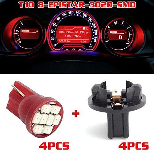 Partsam 4pcs Red T10 194 168 LED Light Bulb 8-Epistar-SMD With Twist Lock Sockets Instrument Panel Cluster Speedometer Odometer Temp Gauges Lighting Lamp