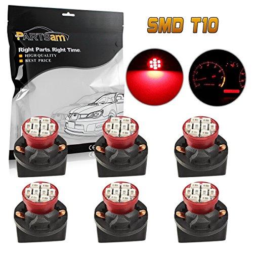 Partsam 6pcs Red T10 194 168 LED Light Bulb 8-Epistar-SMD With Sockets Instrument Panel Cluster Speedometer Odometer Temp Gauges Lighting Lamp