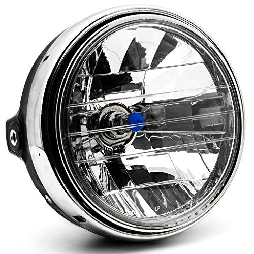 Krator 775 Universal Chrome Motorcycle Headlight H4 Bulb Round Lamp Custom Light