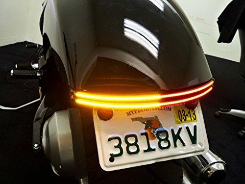 Honda VT750 SpiritPhantom Fender Eliminator Integrated Double Row LED Taillight Kit with Tag Light and Bracket - Brake and Turn Signals - Smoked Lens