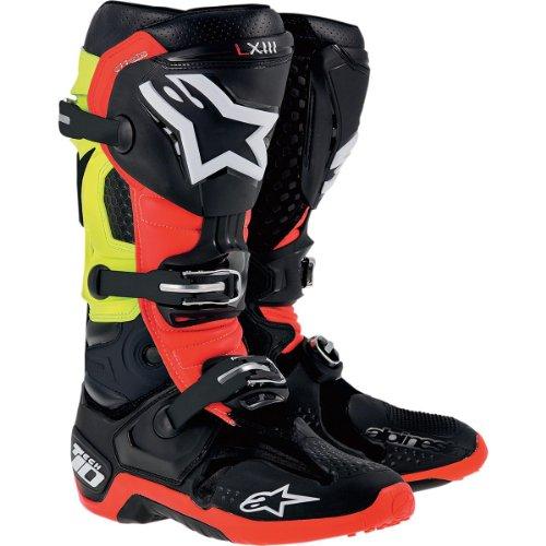 Alpinestars Tech 10 Boots  Primary Color Black Size 8 Distinct Name BlackRedYellow Gender MensUnisex 20100141368
