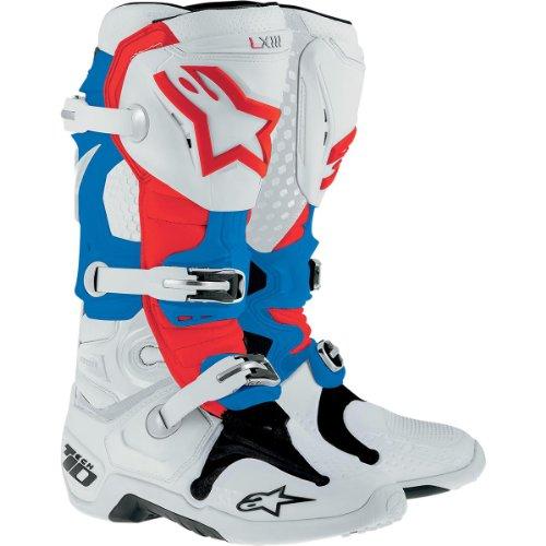 Alpinestars Tech 10 Boots  Primary Color White Size 8 Distinct Name Patriot Gender MensUnisex 20100142738