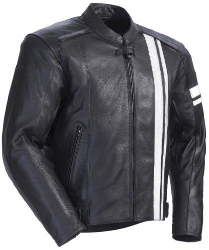 Tourmaster Coaster 3 Leather Motorcycle Jacket Black/white