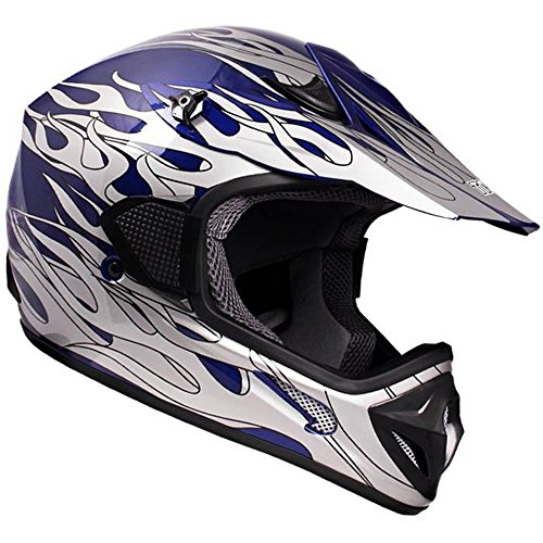 TMS Adult Tms Blue Flame Dirtbike ATV Motocross Helmet Mx Off-road Small