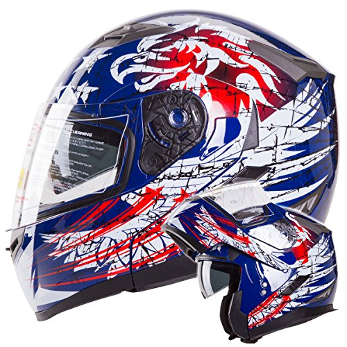 IV2 THE PATRIOT Dual Visor Modular Flip-Up Motorcycle Adventure Touring Helmet DOT - Large