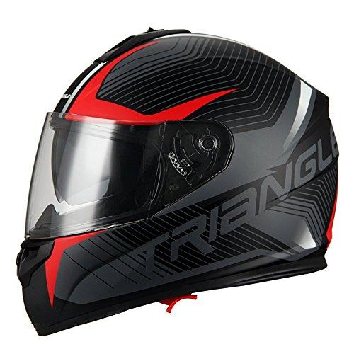 Triangle Full Face Dual Visor Matte Black Street Bike Motorcycle Helmet Medium Matte Red