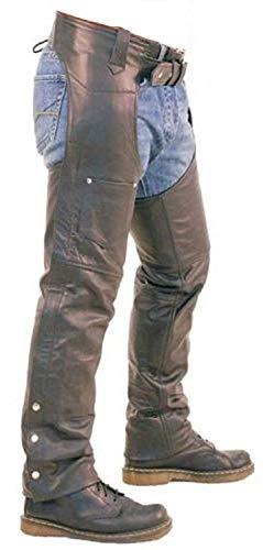 Black Real Leather Chaps Mens Motorcycle Leather Chaps Trouser Pants Jeans Biker Chaps W36 X L30