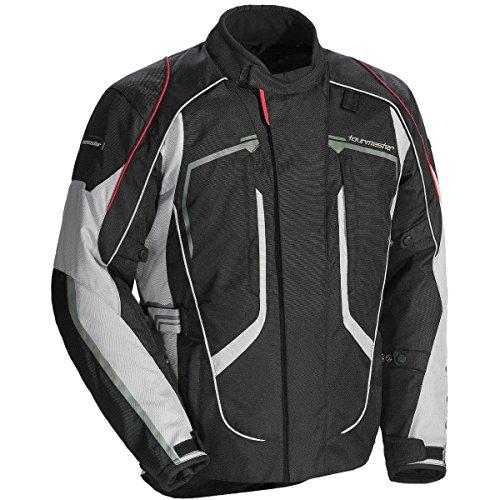 Tour Master Advanced Mens Textile Sports Bike Racing Motorcycle Jacket - BlackGrey  Large