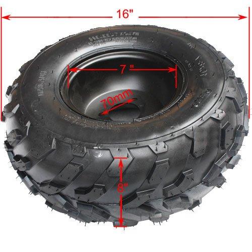 16x8-7 7 Black Right Front  Rear Wheel Rim Tire Assembly for 110 cc 125cc ATV 70mm Quad 4 Wheeler Taotao SunL Coolster Roketa