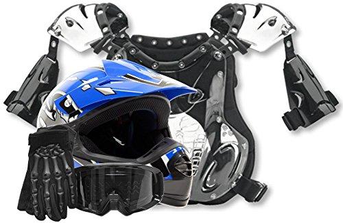 Kids Youth Offroad Helmet Gloves Goggles Chest Protector GEAR COMBO Motocross ATV Dirt Bike MX Black Blue  Medium