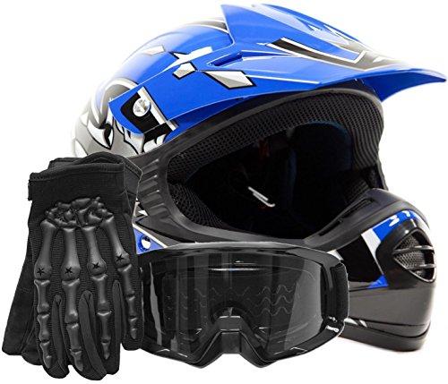 Youth Kids Offroad Gear Combo Helmet Gloves Goggles DOT Motocross ATV Dirt Bike MX Motorcycle Blue Black Small