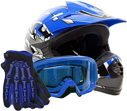 Youth Kids Offroad Gear Combo Helmet Gloves Goggles DOT Motocross ATV Dirt Bike MX Motorcycle Blue Medium
