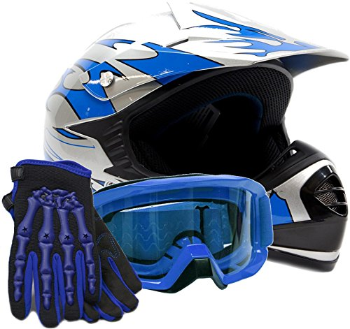Youth Kids Offroad Gear Combo Helmet Gloves Goggles DOT Motocross ATV Dirt Bike MX Motorcycle Blue - XL