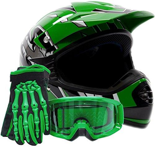 Youth Kids Offroad Gear Combo Helmet Gloves Goggles DOT Motocross ATV Dirt Bike MX Motorcycle Green Large