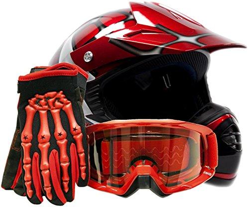 Youth Kids Offroad Gear Combo Helmet Gloves Goggles DOT Motocross ATV Dirt Bike MX Spiderman Red Large