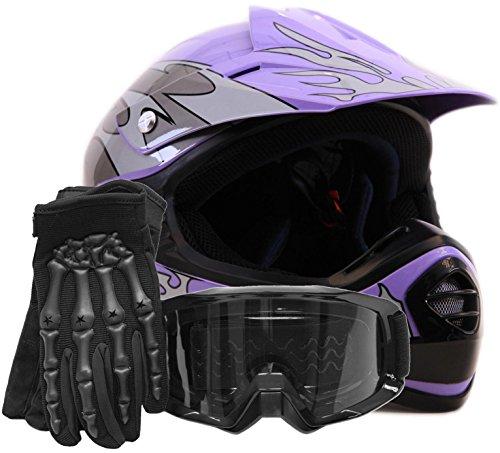 Youth Kids Offroad Gear Combo Helmet Gloves Goggles DOT Motocross ATV Dirt Bike Motorcycle Purple Black - Medium