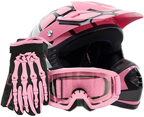 Youth Kids Offroad Gear Combo Helmet Gloves Goggles DOT Motocross ATV Dirt Bike Spiderman Pink  Large