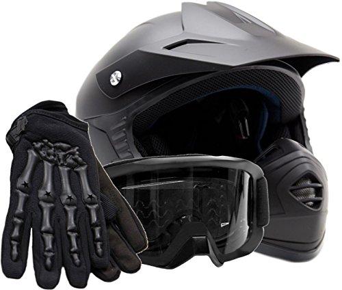 Youth Kids Offroad Helmet Gloves Goggles GEAR COMBO Motocross ATV Dirt Bike Motorcycle Matte Black S Small