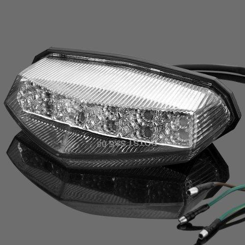 Astra Depot 1x Universal Clear Lens 10 Red LED Brake Stop Running Rear Tail Light For Motorcycle Standard Sport ATV Quad Dirt Bike