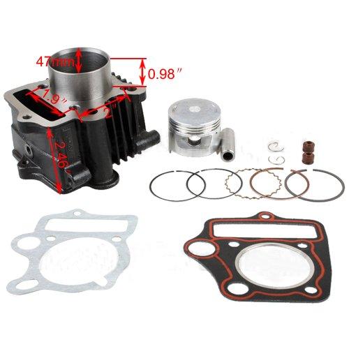 47mm Cylinder Piston Pin Ring Gasket Set Kit for 70cc ATVs Dirt Bikes Quad 4 Wheeler Pit Bike