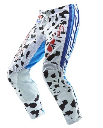 JT Racing USA Limited Edition Dalmatian Dirt Bike Motocross Pants WhiteCyan Blue Size 38