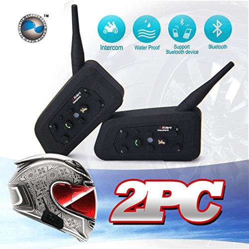Lexin® Waterproof 1200 Meters Range 2x Interphone Bluetooth 2 Way Motorcycle Helmet Multi Intercom Headset 6 Riders
