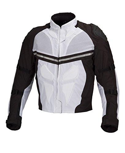 Men Motorcycle Textile Waterproof Windproof Jacket Black & White (xl)
