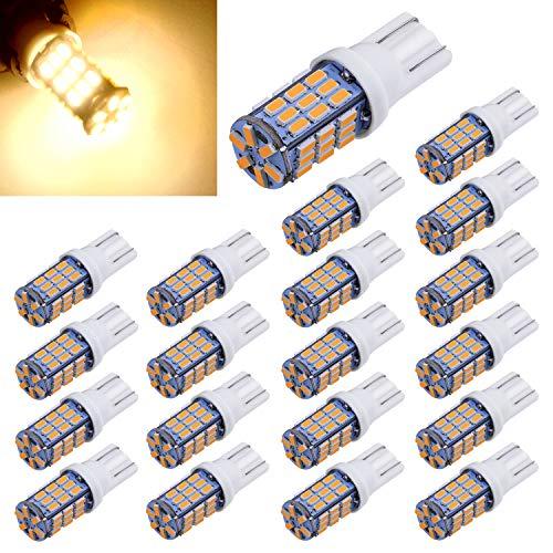 Aucan 20pcs Super Bright RV Trailer T10 921 194 42-SMD 12V Car Backup Reverse LED Lights Bulbs Light Width Lamp Warm White
