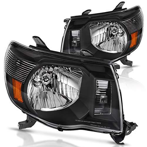 Headlights Assembly for 2005-2011 Toyota Tacoma Black Housing Headlamp