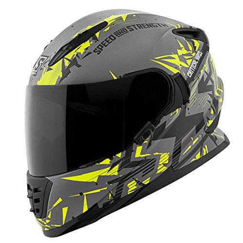 Speed and Strength Critical Mass GrayHi-VizBlack Full Face Helmet XL