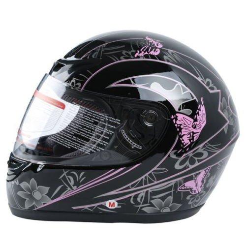 XFMT DOT Adult Pink Black Butterfly Motorcycle Street Full Face Helmet XL