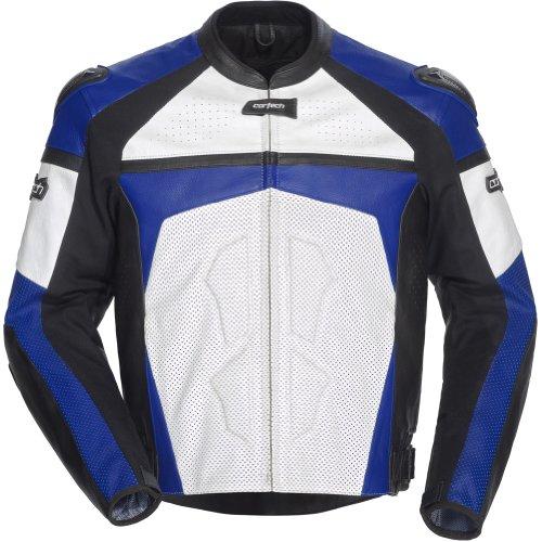 Cortech Adrenaline Men's Leather On-road Racing Motorcycle Jacket - White/blue / Medium