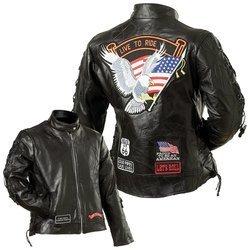 Diamond Plate Ladies Leather Moto Jacket- Xl Black