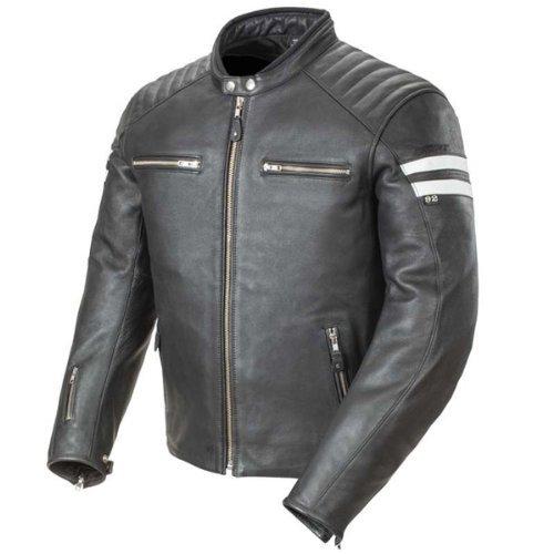 Joe Rocket Classic '92 Men's Leather Motorcycle Jacket (black/white, Medium)