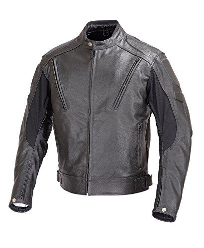 Men Leather Motorcycle Biker Jacket Vented Five Piece Armor Black