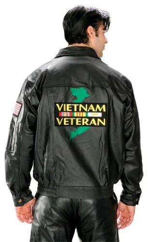 Usa Leather Vietnam Veteran Mens Black Leather Jacket - Large